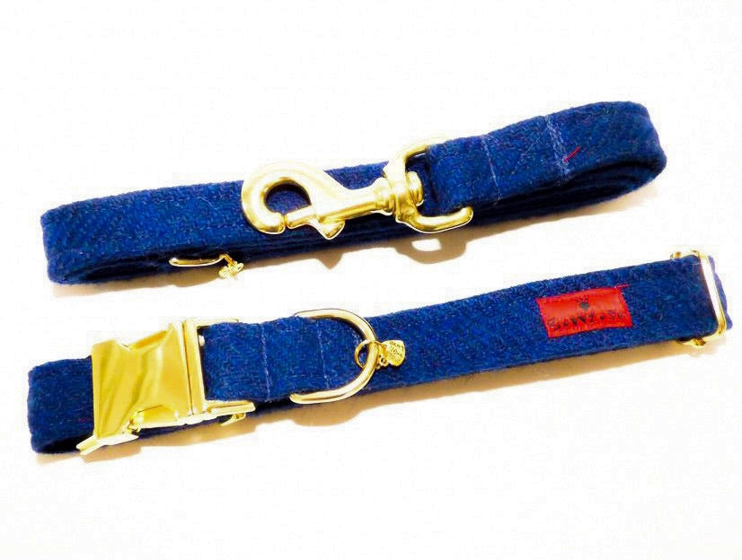 (Balmoral) Harris Tweed Dog Collar & Lead Set - Blue (with Gold Look Buckle & Brass Findings) - BOWZOS
