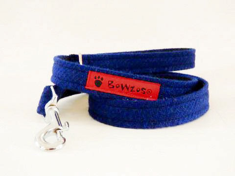 (Balmoral) Harris Tweed Dog Lead - Blue (with Silver Findings) - BOWZOS