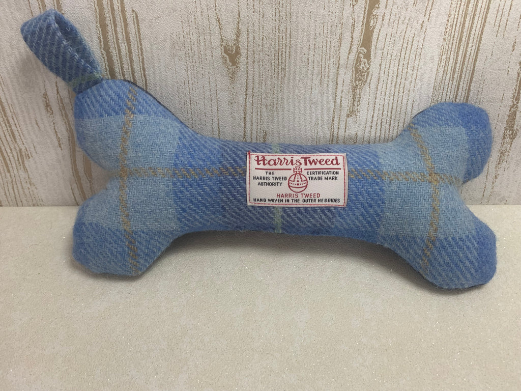(Edinburgh) Bowzos Harris Tweed Squeaky Bone Toy - Baby Blue - BOWZOS