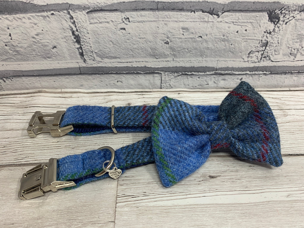(Skye) Harris Tweed Bow Tie Dog Collar - Blue/Grey Check - BOWZOS
