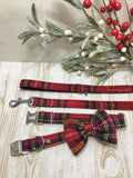 Harris Tweed Bow Tie Dog Collar & Lead Set - Red Stewart Tartan - BOWZOS