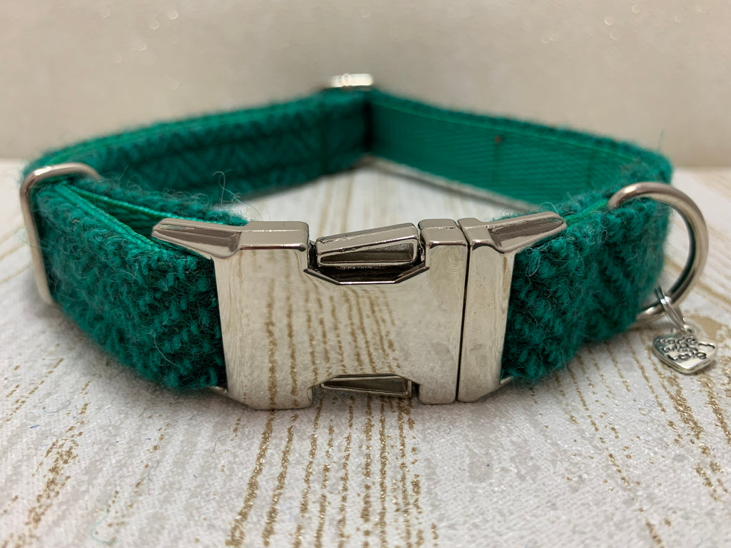 (Horgabost) Harris Tweed Dog Collar - Green Herringbone - BOWZOS