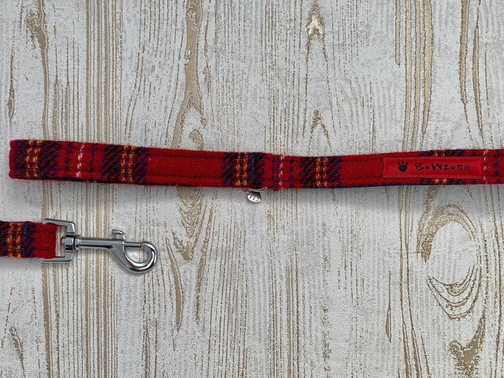 Dog Lead - Red Stewart Tartan - BOWZOS