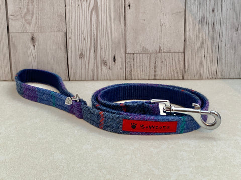 (Barra) Harris Tweed Dog Lead - Berry Blue Check - BOWZOS