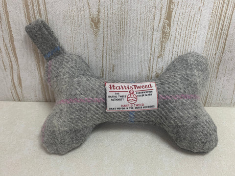(Baby Grey) Bowzos Harris Tweed Squeaky Bone Toy - Grey - BOWZOS