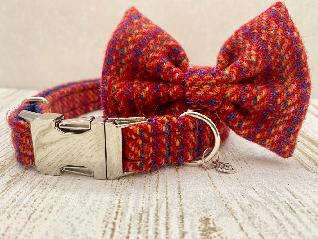 (Kelburn) Harris Tweed Bow Tie Dog Collar - Red Kaona - BOWZOS
