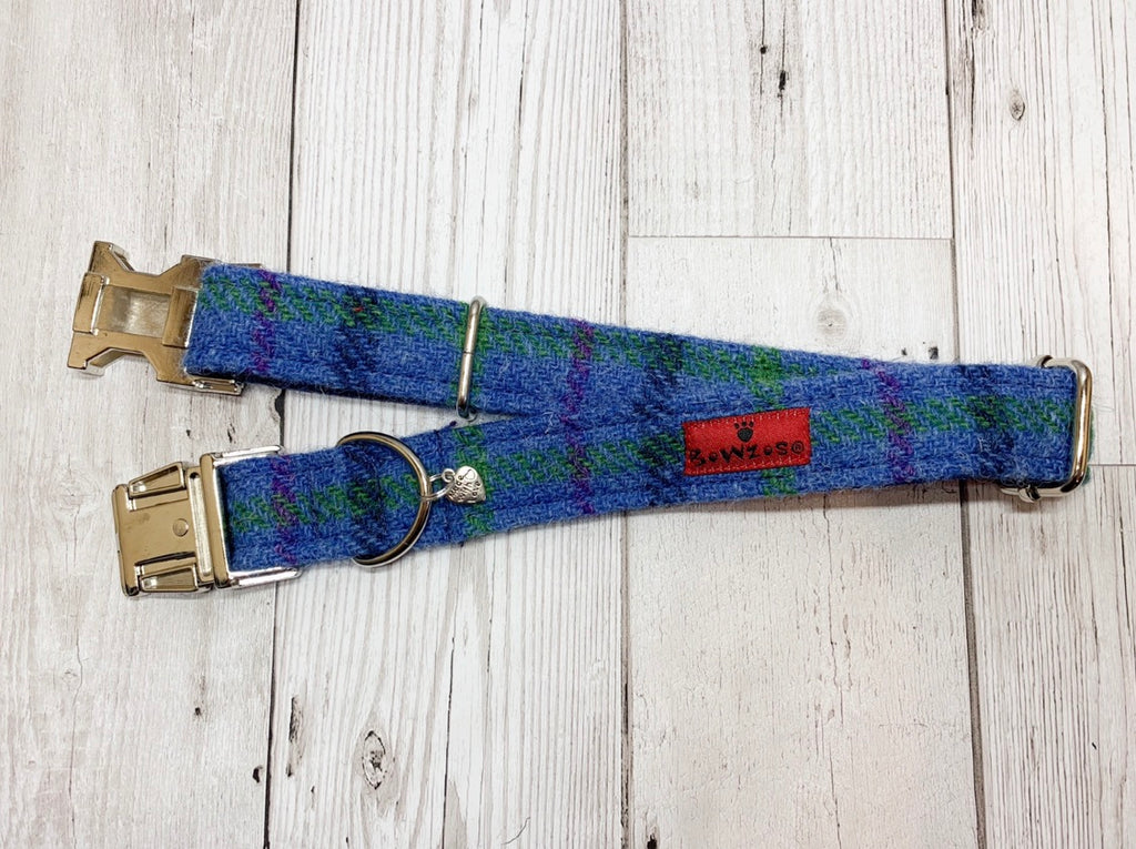 (Lewis) Harris Tweed Dog Collar  - Blue Check - BOWZOS