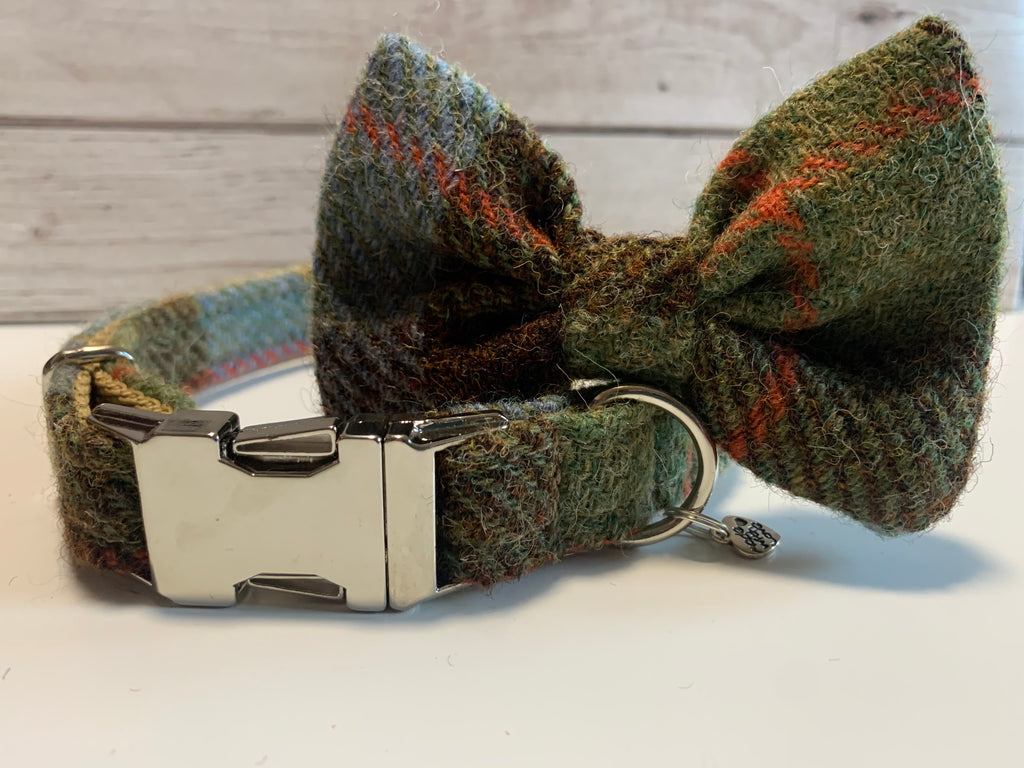 (MacLeod) Harris Tweed Bow Tie Dog Collar - MacLeod Tartan