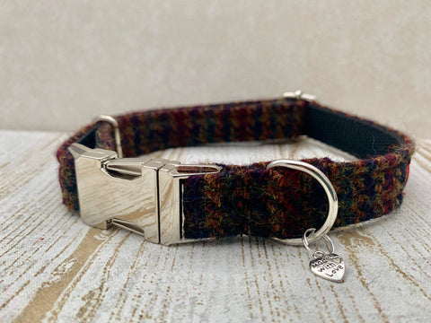 (Bobby) Harris Tweed Dog Collar  - Brown Houndstooth