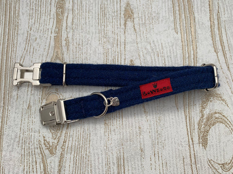 (Balmoral) Harris Tweed Dog Collar - Blue (with Silver Buckle & Findings) - BOWZOS