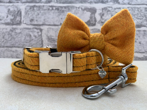 (Citrus Yellow) Harris Tweed Bow Tie Dog Collar & Lead Set - Citrus Yellow - BOWZOS