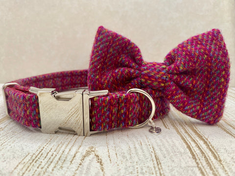 (Kellie) Harris Tweed Bow Tie Dog Collar - Pink Kaona - BOWZOS