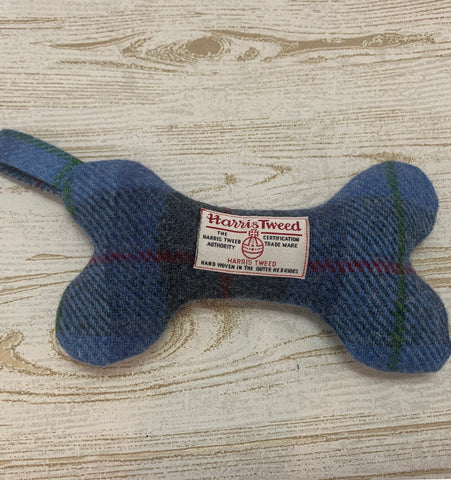 (Skye) Harris Tweed Squeaky Bone Toy - Blue Check - BOWZOS