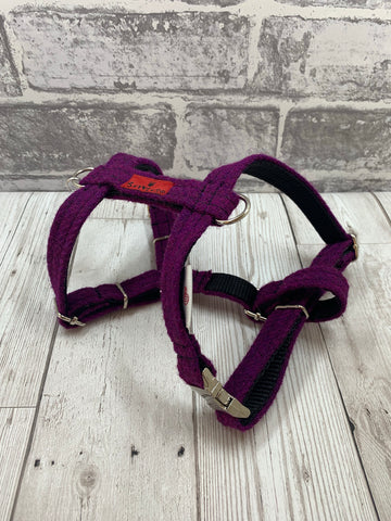 (Caledonian) Harris Tweed Harness - Dark Purple - BOWZOS