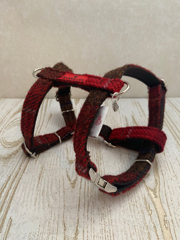 (Blair) Harris Tweed Harness - Dark Red Check - BOWZOS