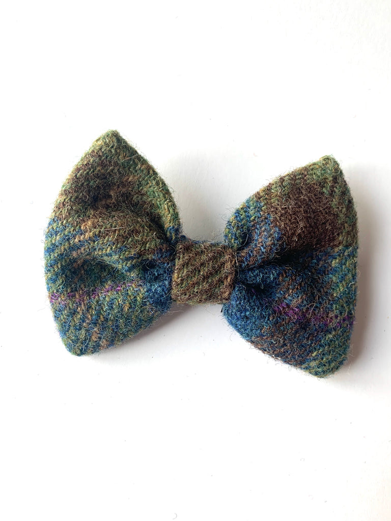 (Inverary) Bowzos Bow - Harris Tweed Khaki & Blue Check