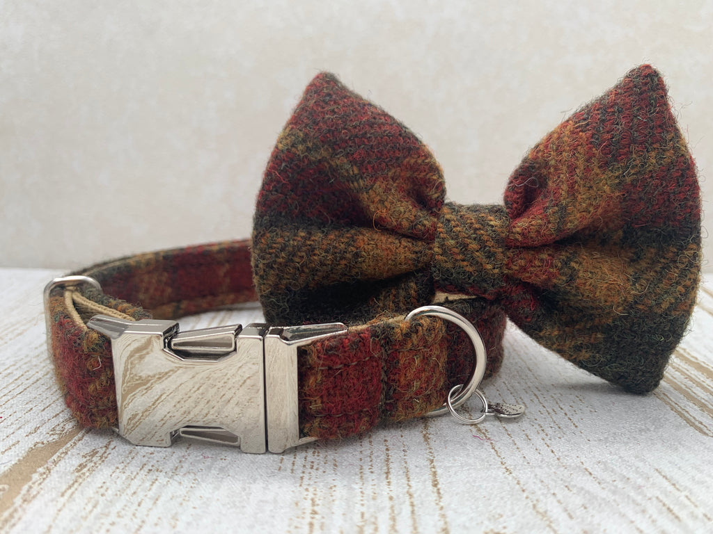 (Stornoway) Harris Tweed Bow Tie Dog Collar - Chestnut & Mustard - BOWZOS