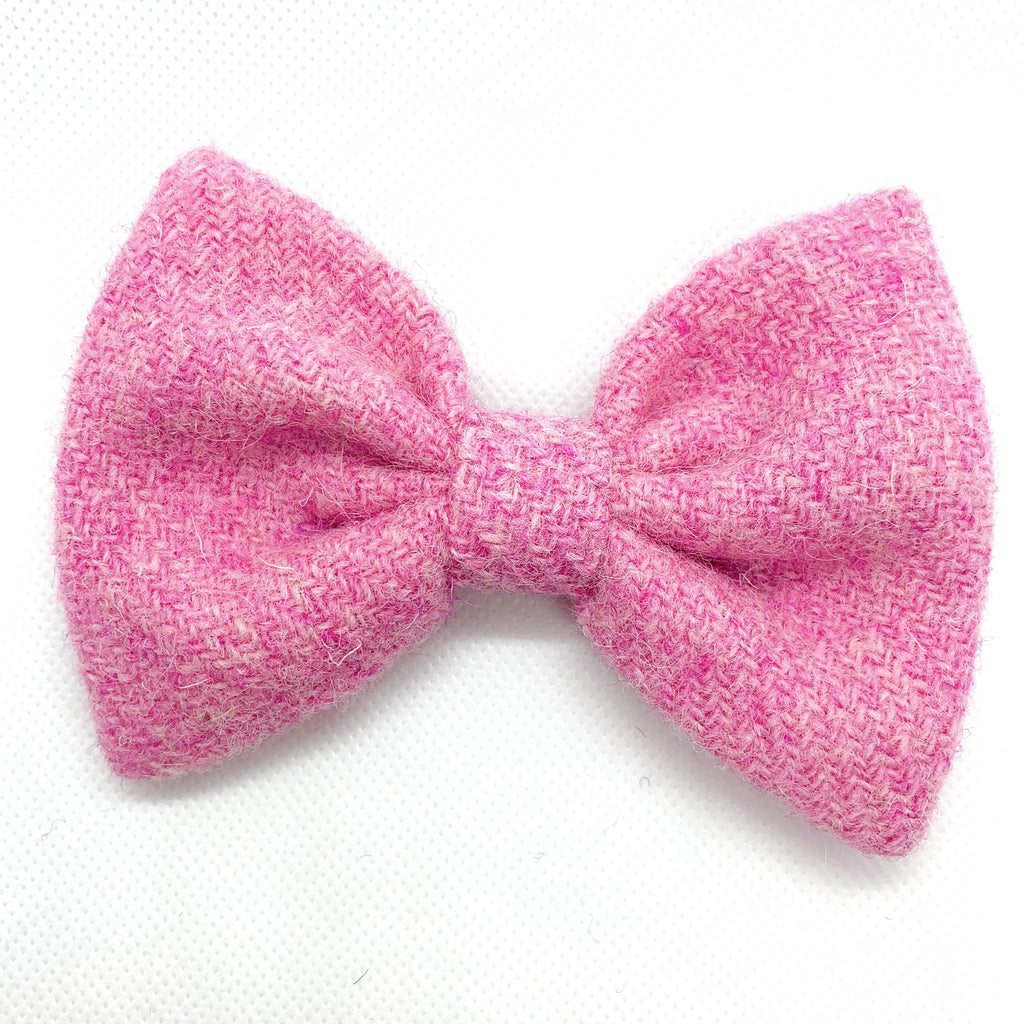 (Rose) Bowzos Bow - Harris Tweed Rose Pink - BOWZOS