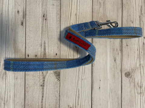 (Edinburgh) Harris Tweed Dog Lead - Baby Blue Check