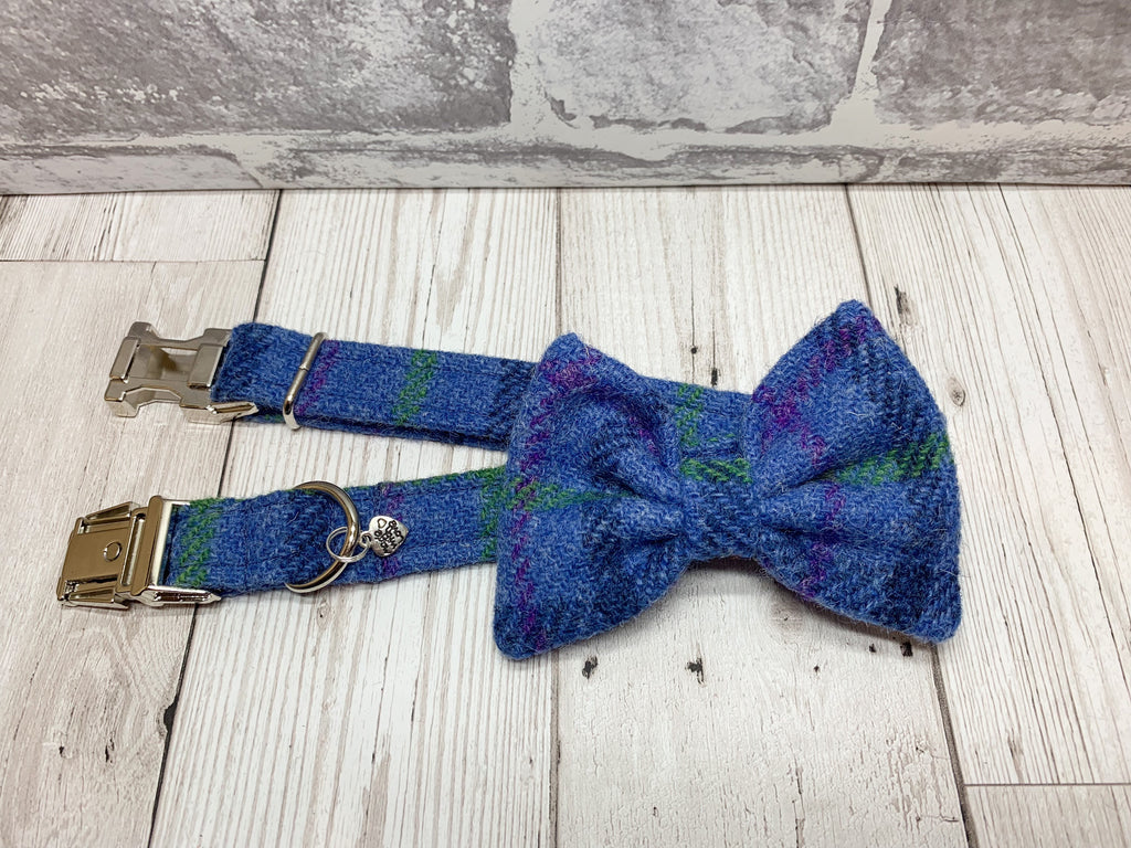 (Lewis) Harris Tweed Bow Tie Dog Collar & Lead Set - Blue Check - BOWZOS