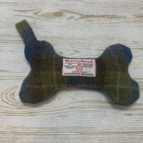 (Inveraray) Harris Tweed Squeaky Bone Toy - Khaki & Blue - BOWZOS
