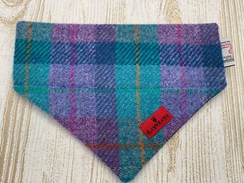 (Hebrides) Bowzos Harris Tweed Bandana - Purple/Jade Check - BOWZOS