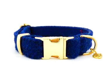 (Balmoral) Harris Tweed Dog Collar  -  Harris Tweed Dog Collar  - Blue (with Gold Look Buckle & Brass Findings) - BOWZOS