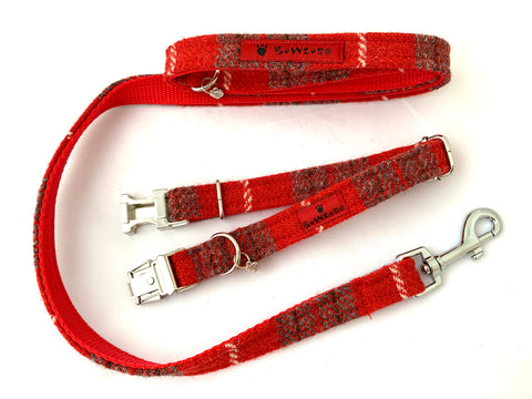 (Brodie) Harris Tweed Dog Collar & Lead Set - Blue - BOWZOS