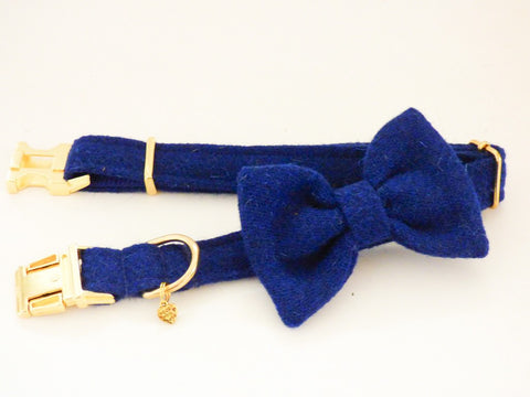 (Balmoral) Harris Tweed Bow Tie Dog Collar - Blue (with Gold Look Buckle & Brass Findings) - BOWZOS