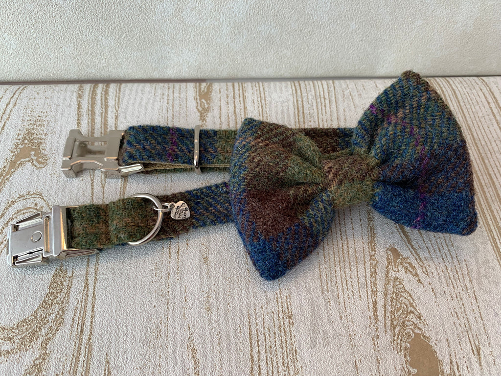 (Inverary) Harris Tweed Bow Tie Dog Collar - Khaki & Blue Check - BOWZOS