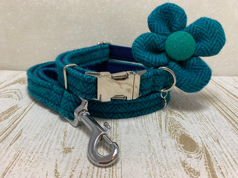 (Luskentyre) Harris Tweed Flower Dog Collar & Lead Set - Aquamarine Herringbone - BOWZOS