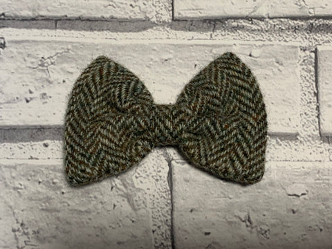 (Beige Herringbone) Bowzos Bow - Harris Tweed Beige Herringbone