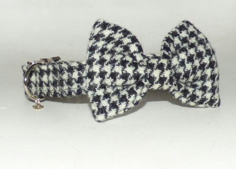 (Nessie) Harris Tweed Bow Tie Dog Collar & Lead Set - Black and White Houndstooth