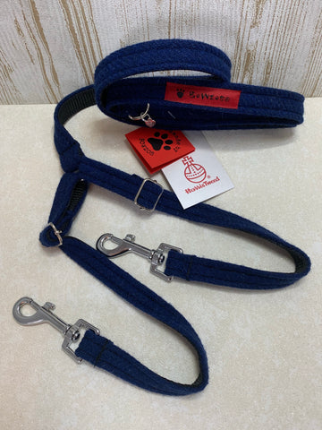 (Balmoral) Harris Tweed Splitter Dog Lead - Blue (with Silver Findings) - BOWZOS