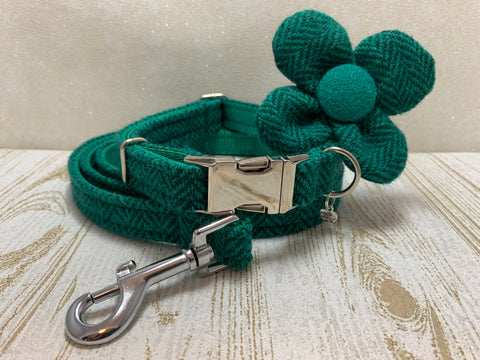 (Horgabost) Harris Tweed Flower Dog Collar & Lead Set - Green Herringbone - BOWZOS