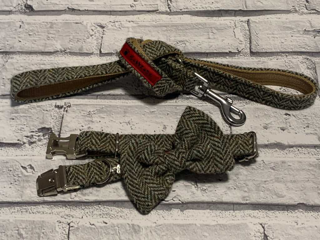 (Beige Herringbone) Harris Tweed Bow Tie Dog Collar & Lead Set - Beige Herringbone