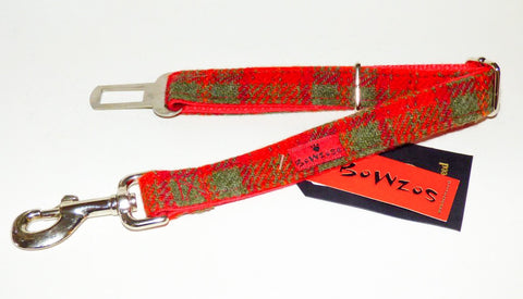 (Arran) Harris Tweed Dog Seat Belt - Orange - BOWZOS