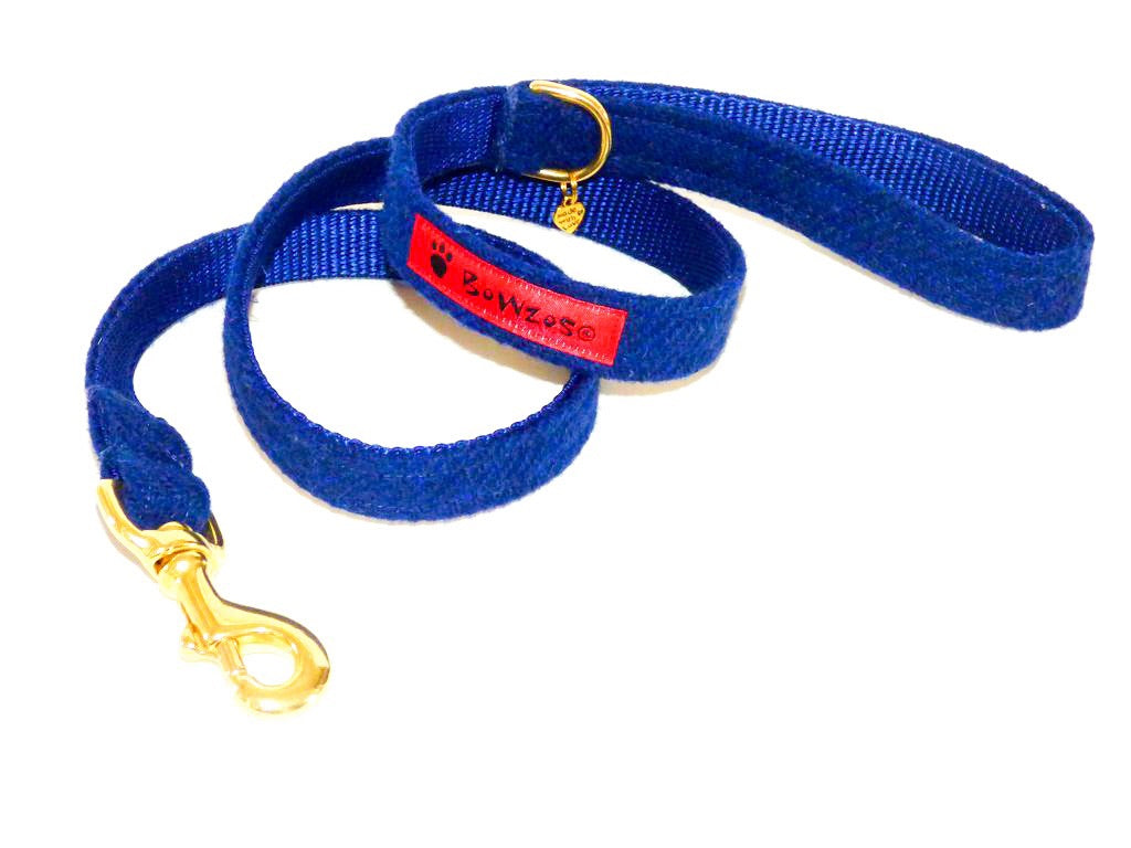 (Balmoral) Harris Tweed Dog Lead - Blue (with Brass Findings) - BOWZOS