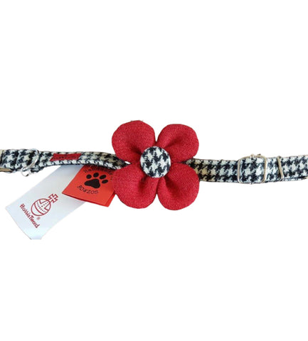 (Nessie) Harris Tweed Flower Dog Collar & Lead Set - Black & White Houndstooth with Red Flower - BOWZOS