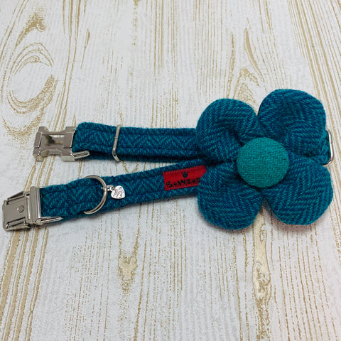 (Luskentyre) Harris Tweed Flower Dog Collar - Aquamarine Herringbone - BOWZOS