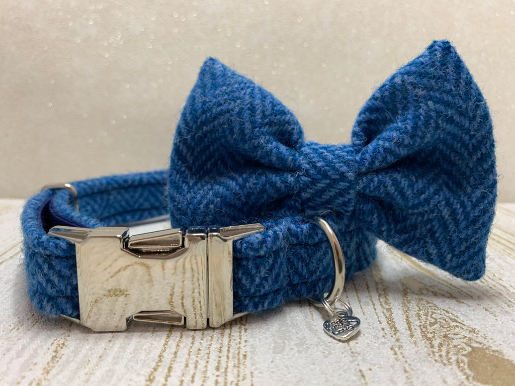 (Scarista) Harris Tweed Bow Tie Dog Collar & Lead Set - Blue Herringbone - BOWZOS