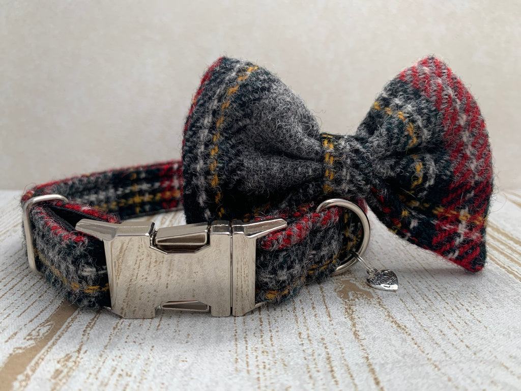 Harris Tweed Bow Tie Dog Collar - Grey Stewart Tartan - BOWZOS