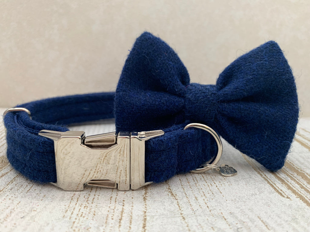 (Balmoral) Harris Tweed Bow Tie Dog Collar - Blue (with Silver Findings)