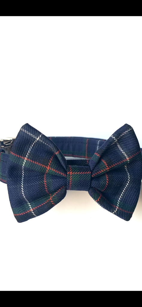 Bow Tie Dog Collar - Isle of Arran Tartan - BOWZOS