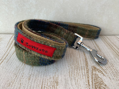 (Inverary) Harris Tweed Dog Lead - Khaki & Blue Check - BOWZOS