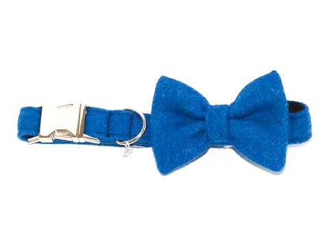 (Bonnie) Harris Tweed Bow Tie Dog Collar - Blue - BOWZOS