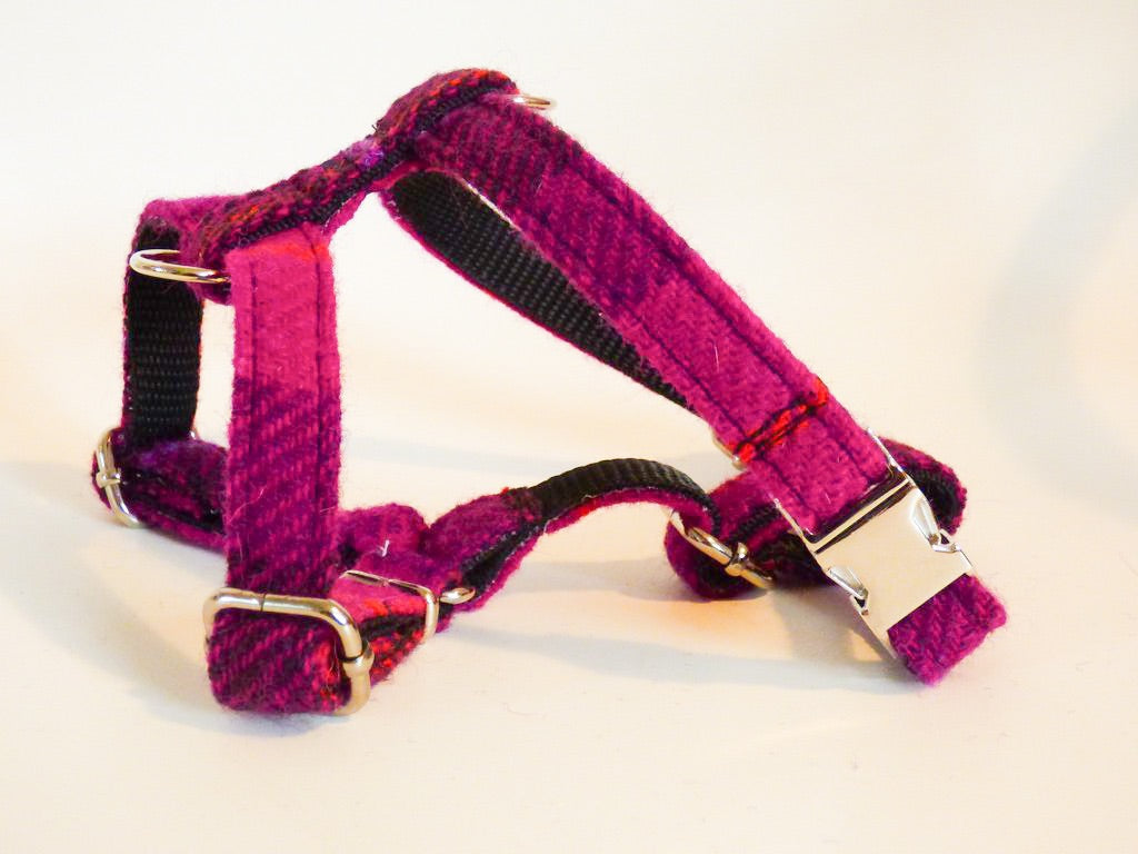(Mull) Harris Tweed Harness - Fuschia Purple Check - BOWZOS