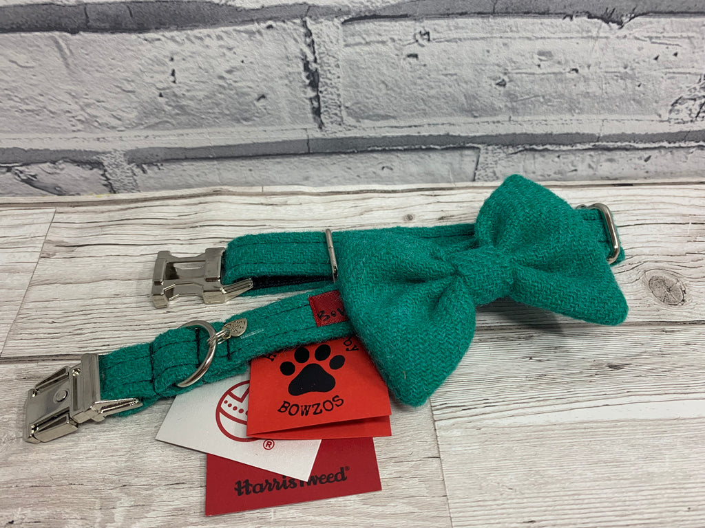 (Dalmahoy) Harris Tweed Bow Tie Dog Collar - Jade Green - BOWZOS