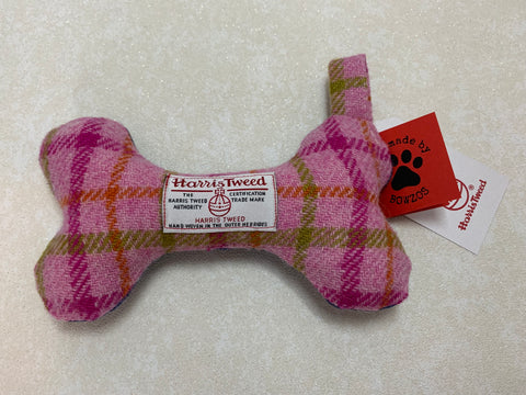 (Isla) Bowzos Harris Tweed Squeaky Bone Toy - Baby Pink - BOWZOS