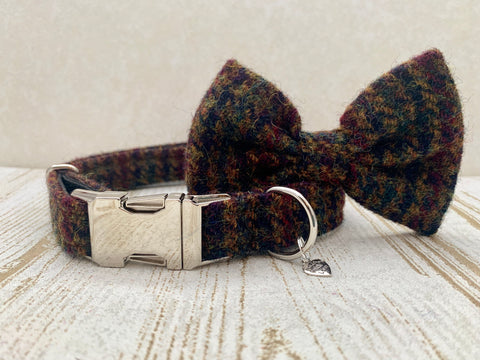 (Bobby) Houndstooth Harris Tweed Bow Tie Dog Collar - Brown